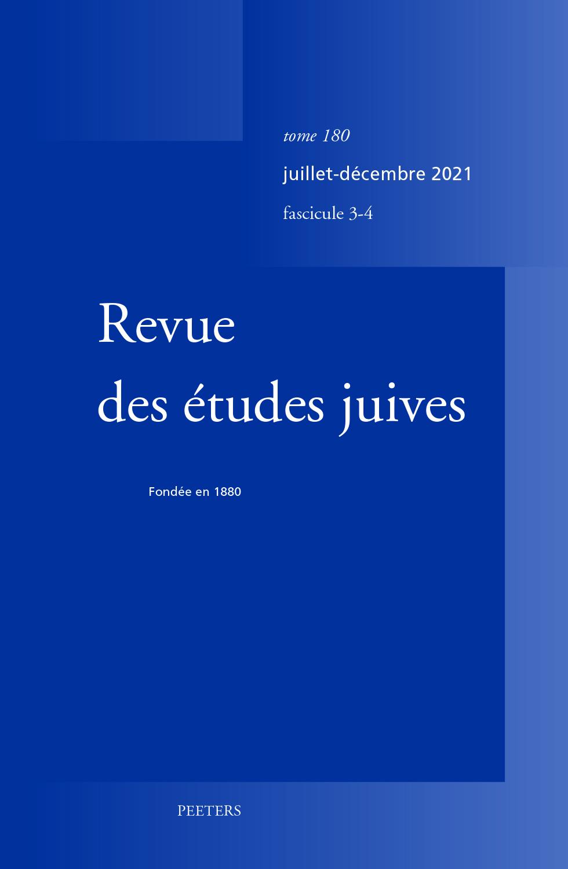 REVUE DES ETUDES JUIVES